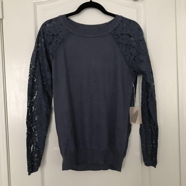 dusty blue knit top