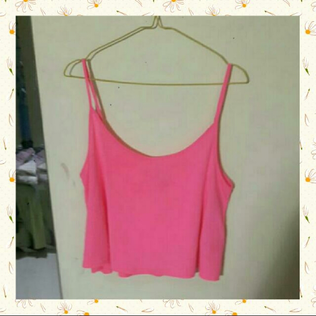 H&M Basic Divided Bright Pink Tank Crop Top / Kaos Lengan Buntung Merah Muda Terang