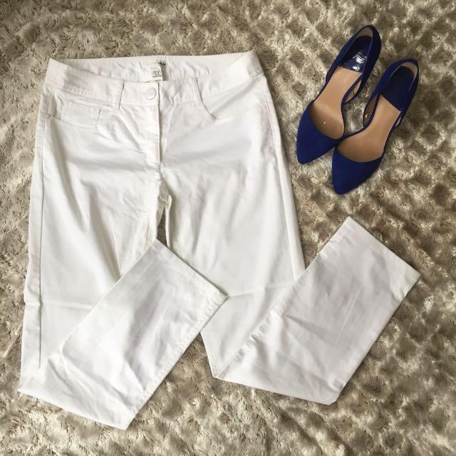 H&M White Slim Leg Pants