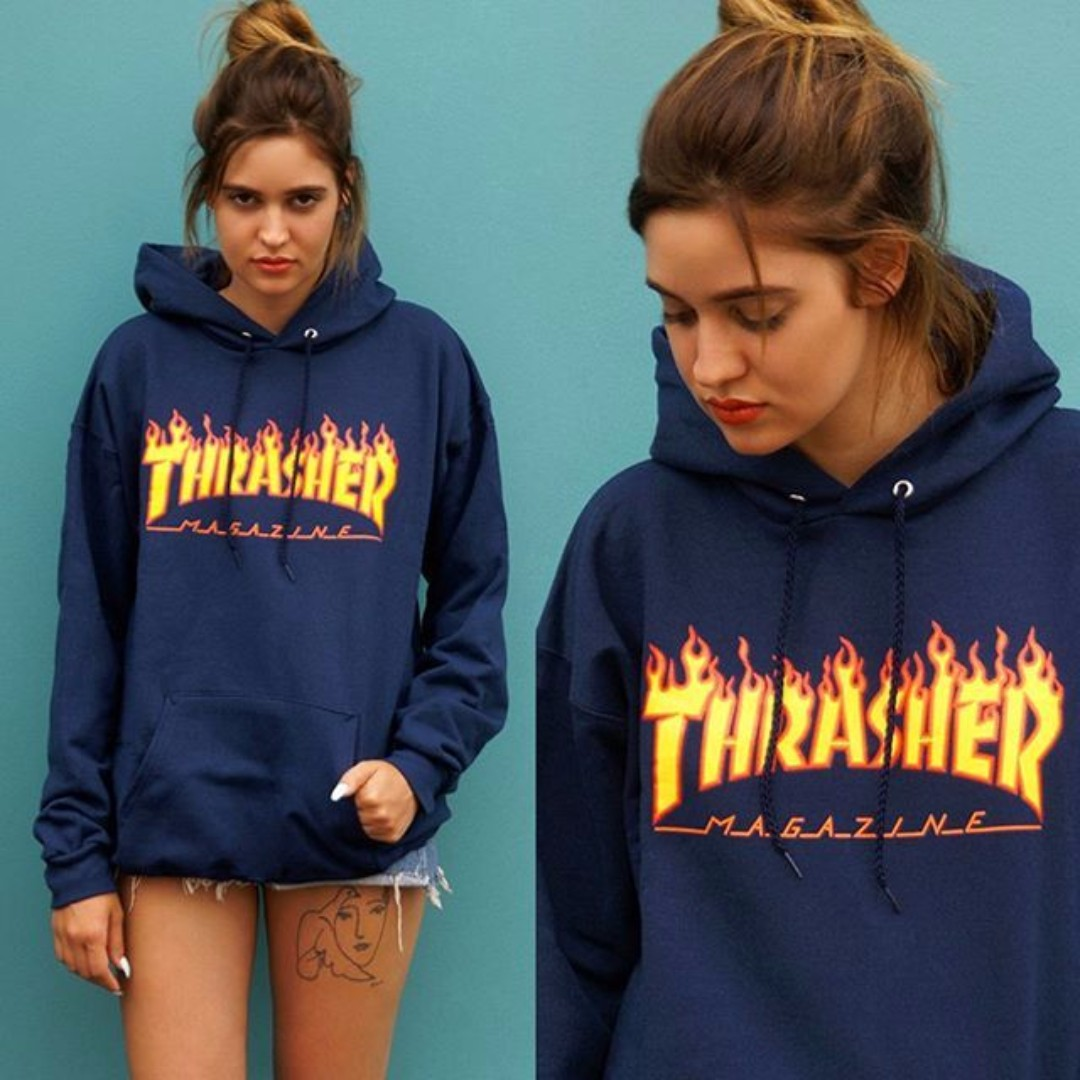 27eb94dcf0cd Hoodie Thrasher Flame - NAVY BLUE