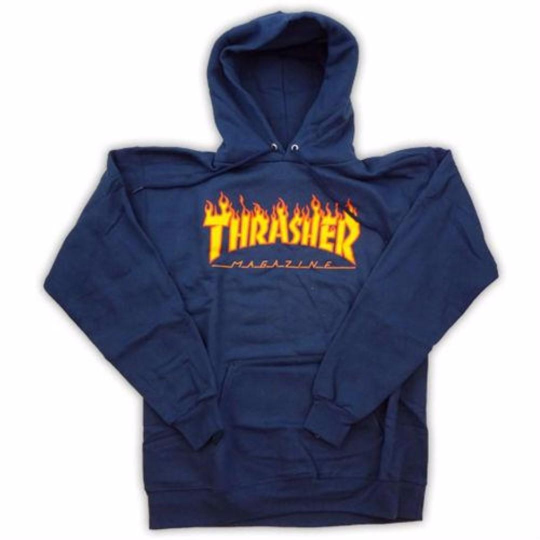 Hoodie Thrasher Flame Navy Blue
