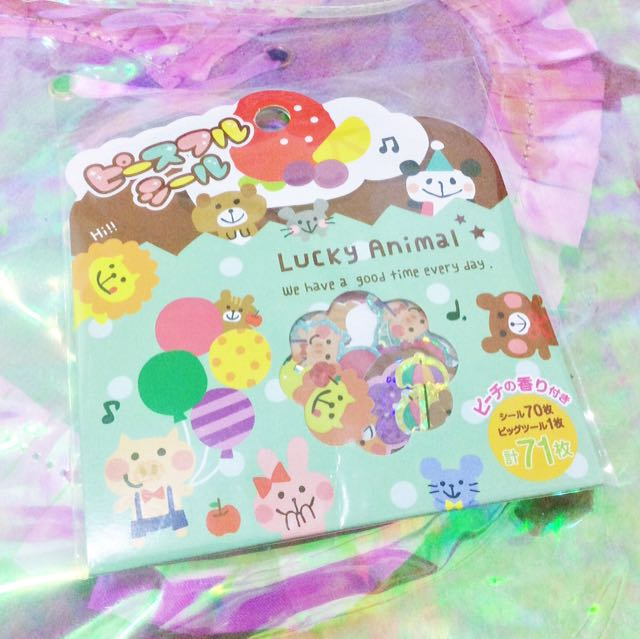 Lucky Animal Animals Circus Pig Panda Bear Lion Bunny Rabbit Mouse Mice Sticker Flakes Stickers Kawaii Japan Happy Mind Wave Brand