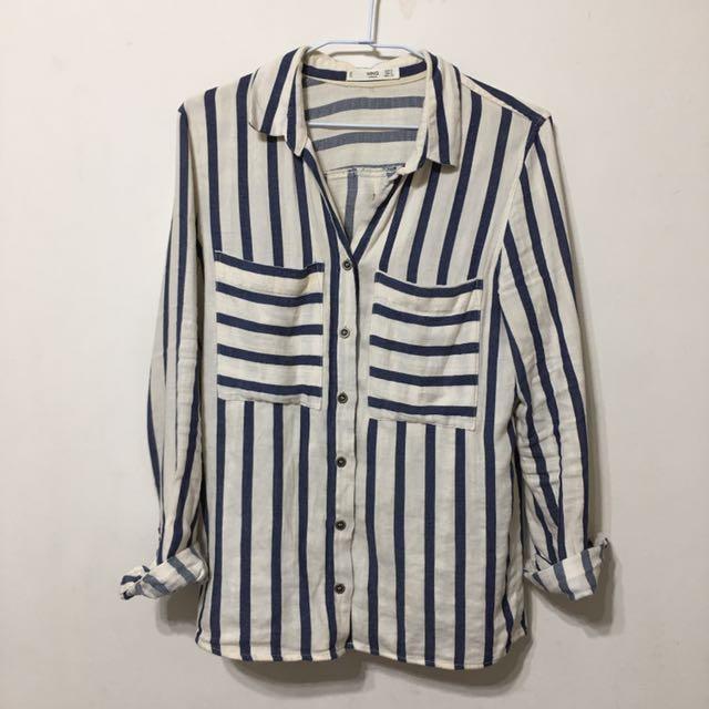 Mango質感藍白條紋襯衫