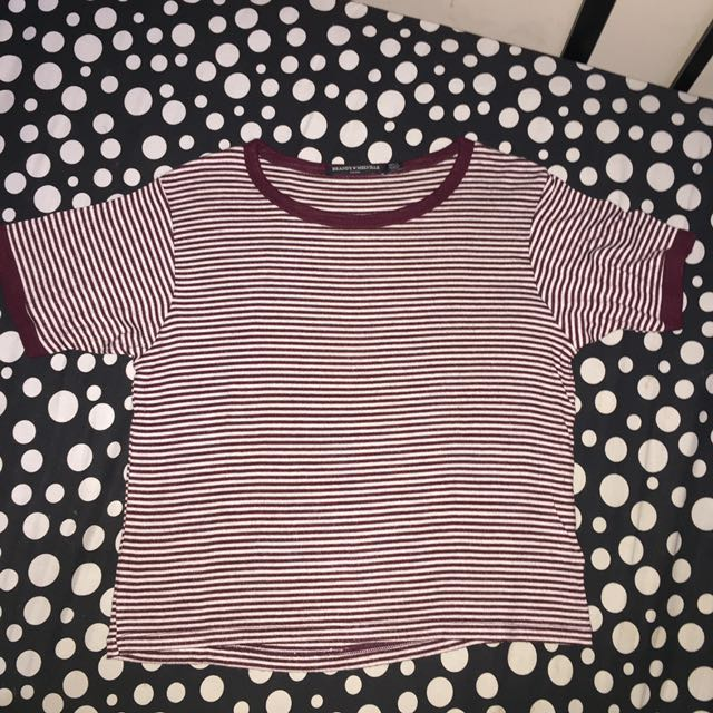 Maroon-Striped Crop Top