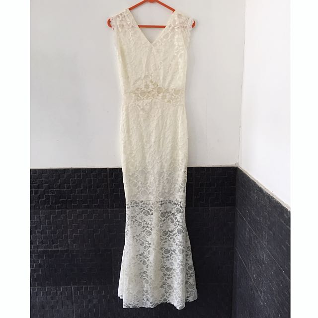 Off White Lace Mermaid Dress