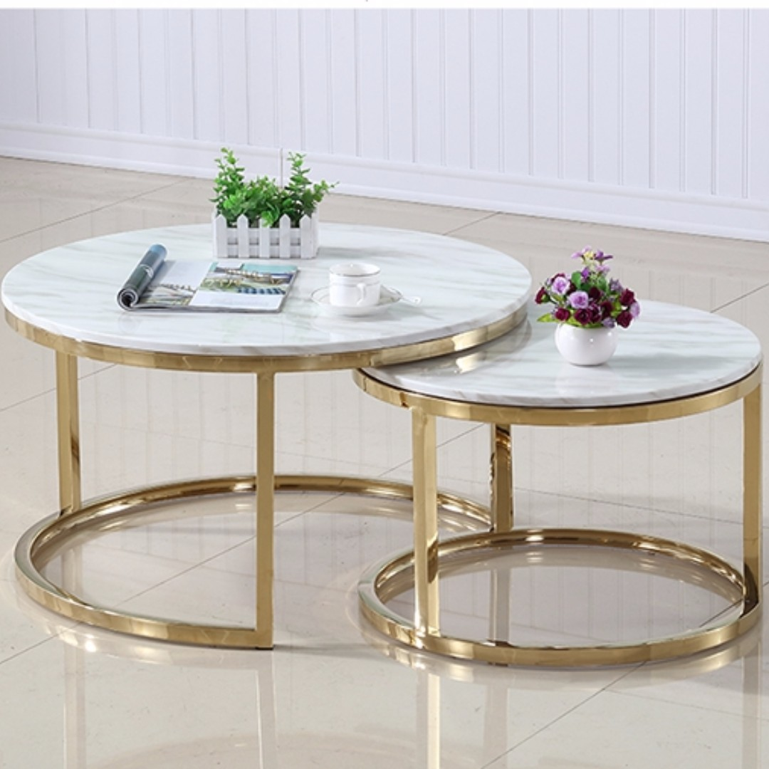 White Marble Coffee Table Set: Scandinavian Marble Coffee Tea Table Simple Modern Living