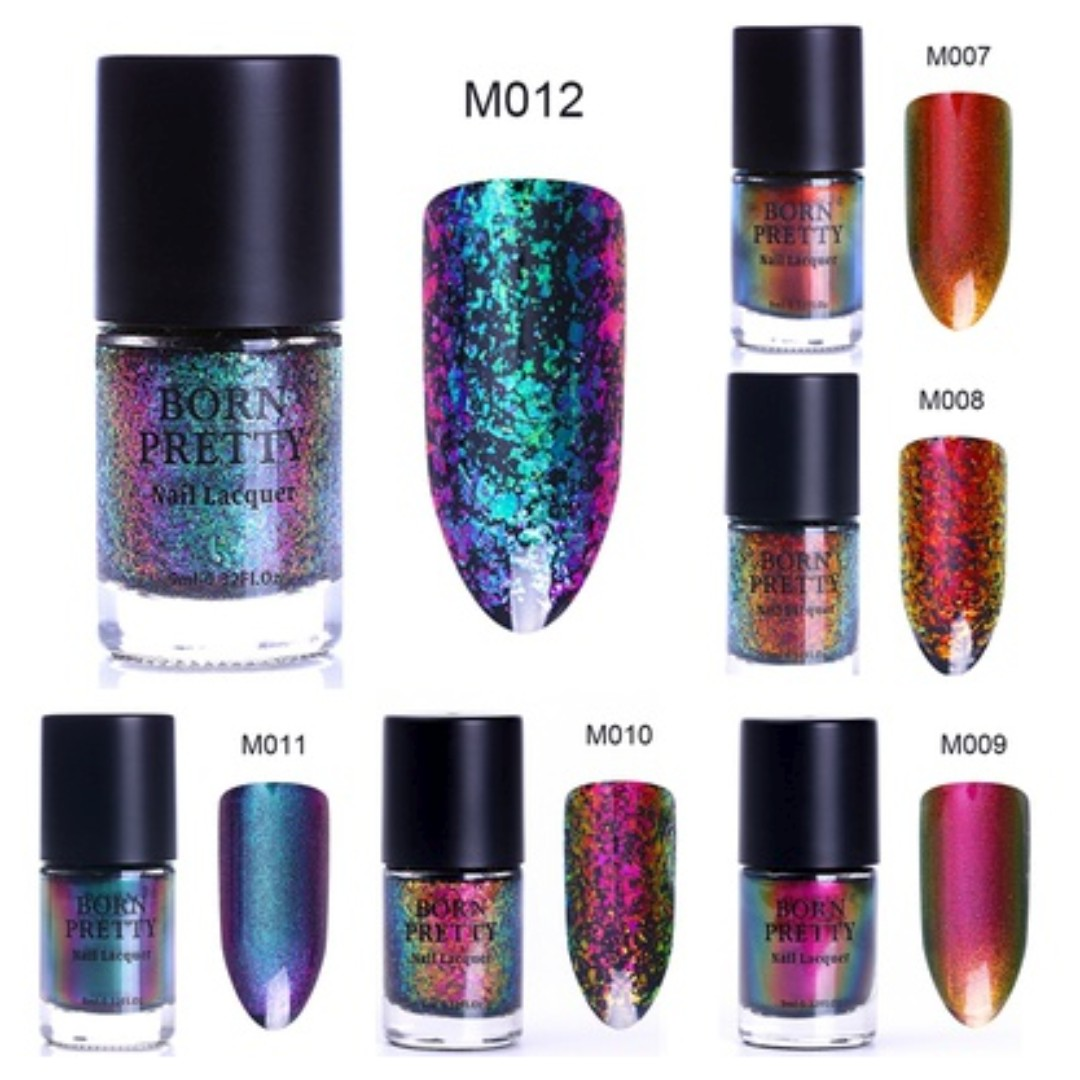 Single Bottle 9ml Born Pretty Women Fashion Chameleon Nail Polish Color Change Shimmer Sequins Long Lasting Laser Lacquer Holographic Varnish