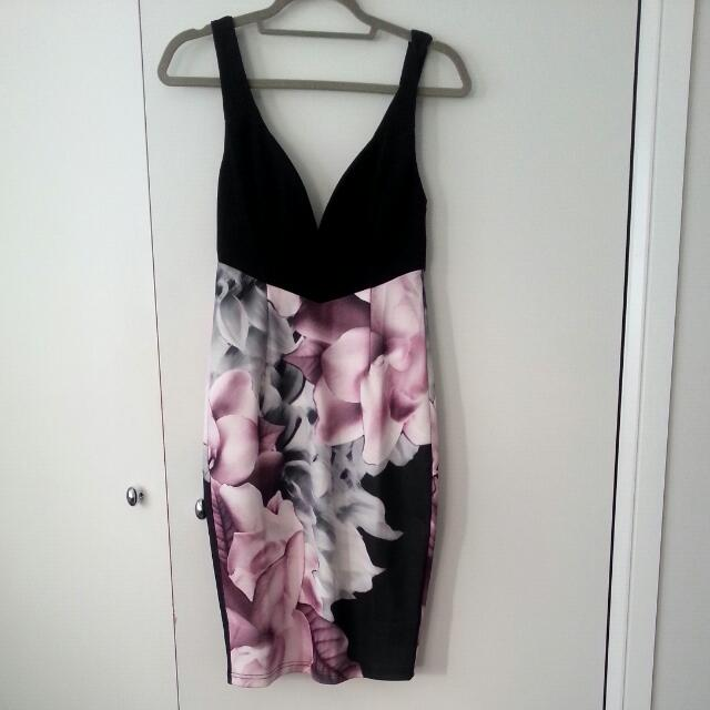 Size 8 Black and Floral Print Dress