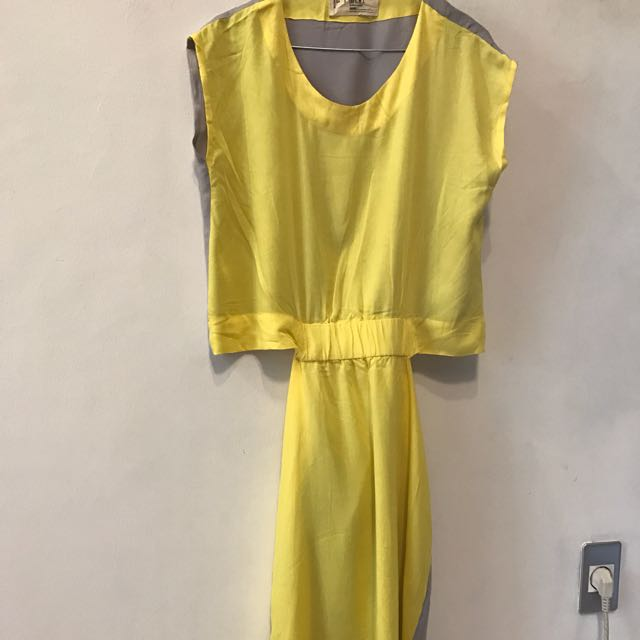 SML Grey Yellow Dress