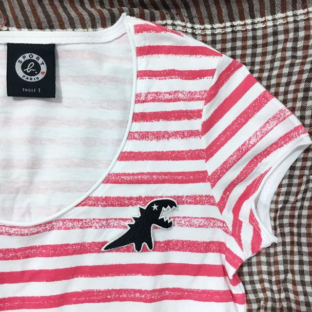 SPORT b. / agnes b. 恐龍紅色條紋短袖上衣 #含運最划算