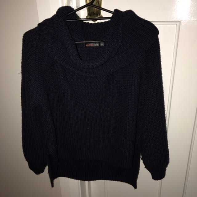 Turtle neck knitted navy jumper