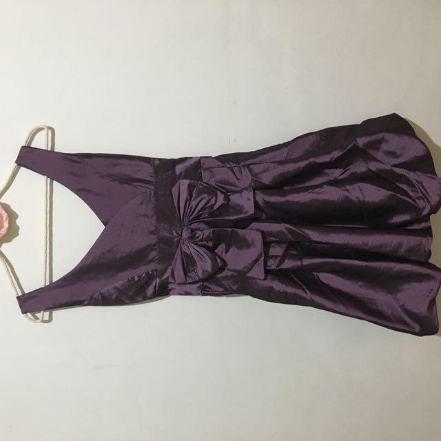 緞面貴氣紫深v小禮服