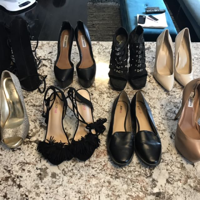 Various women's size 10 heels and shoes