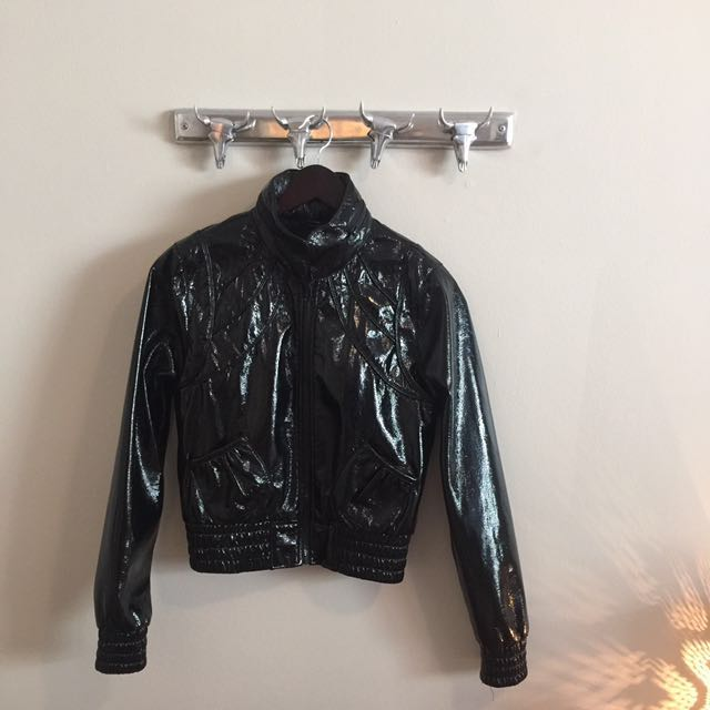 Vintage Patent Leather Bomber