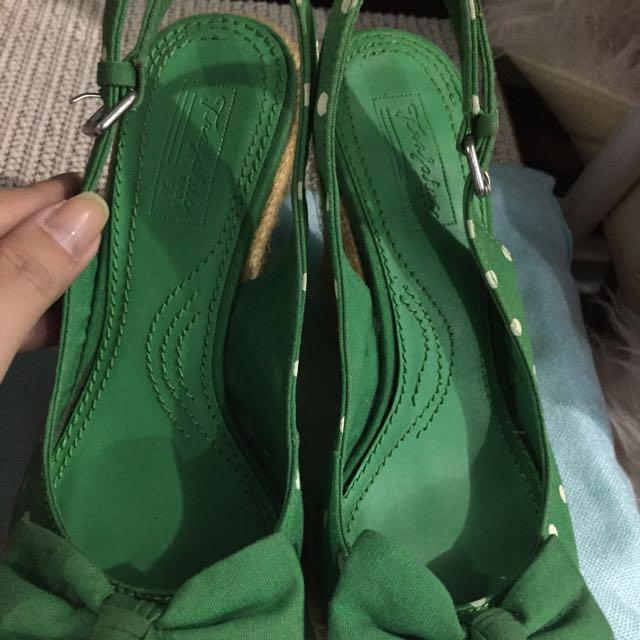 Zara Trafaluc Green Polka Wedge Shoe