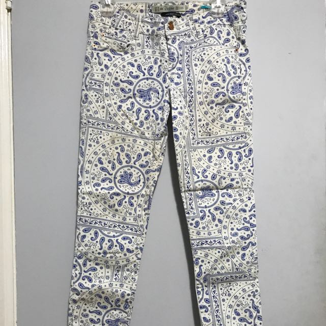 Zara White & Blue Patterned Pants