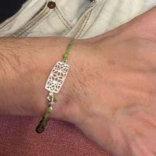 訂做 綁繩水晶銀飾 手鏈