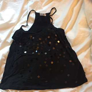 Garage Black Sparkly Tank Top