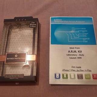 iphone 7 plus 透明軟殼 + 玻璃貼