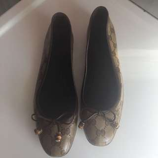 Gucci Bamboo Bow Coated Canvas Ballet Flats