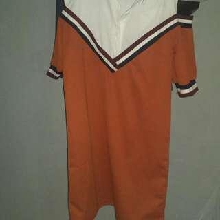 orange korean dress