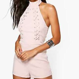 High Neck Lace Up Playsuit