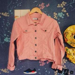 Pastel Pink Cropped Denim Jacket