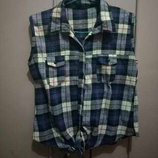 REPRICE flannel tied top