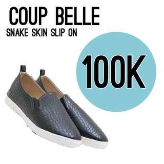 Coup belle snake skin slip on