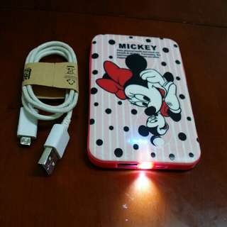 Mickey mouse powerbank with usb cable
