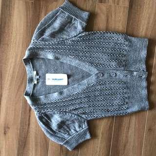 Cropped short sleeve knit cardigan