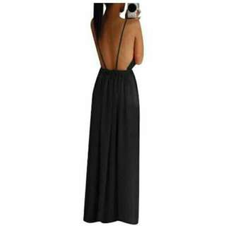 SuperCart Backless Long Maxi Dress (Black)- Intl