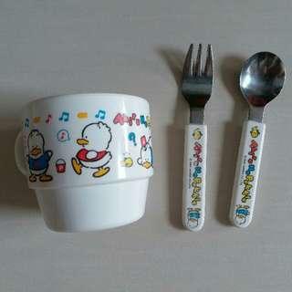 90年 日本出品 罕有Sanrio 鴨仔Pekkle 水杯 匙羹 叉子 套裝