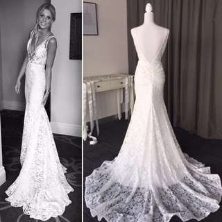 Boho French lace wedding dress with pckects 6-8-10-12