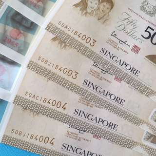 SG50 $50 With Identical Number 2 pcs run