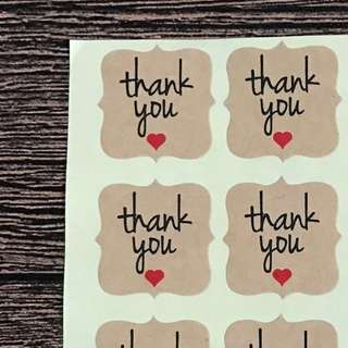 (Postage Included) 60 Kraft Stickers - Thank You Labels - Kraft Labels - Seals
