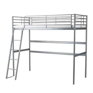 SVÄRTA Loft bed frame, silver color, Twin
