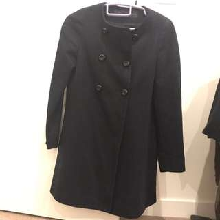 Zara Navy Trench Coat / Wool Jacket Size Xs