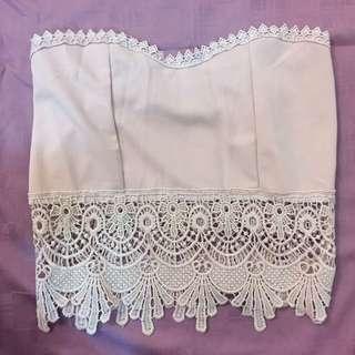 Pink lace crop top