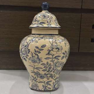 Decoupage & Hand-painted Ginger Jar