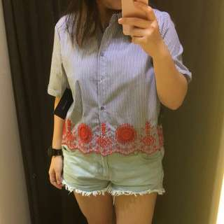Zara basic crochet stripe blouse