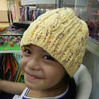 Hand Crocheted Cable Bonnet