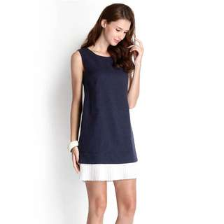 Secret Canvas Dress In Navy Blue