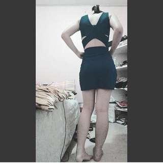 crisscross back royal blue dress
