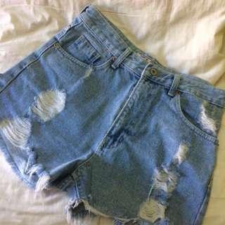 REX GIRL tattered shorts