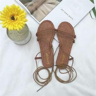 韓系綁帶平底涼鞋
