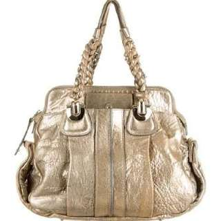 Chloe Heloise Leather Hand Bag In Antique Gold - Metallic - Rrp $1800