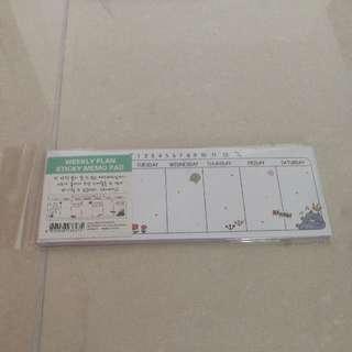 Mini weekly Sticky memo pad