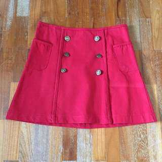 Red Skirt High Waist Pull&Bear