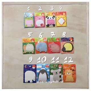 Cute Animal Office/ Desktop Notepad / Post Its/ Post Stick / Sticky Notes / Page Tabs